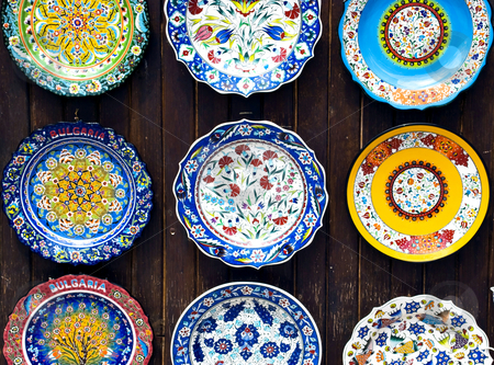 Colorful plates stock photo, Colorful decorated handmade bulgarian plates by Desislava Dimitrova