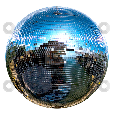 Disco ball stock photo, Spinning disco ball isolated on white by Desislava Dimitrova