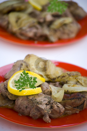 Chicken liver stock photo, Chicken liver with lemon and onion by Desislava Dimitrova