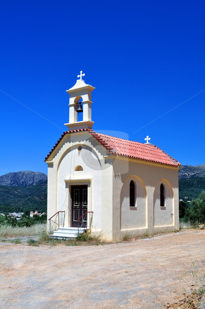 Greek chapel stock photo, Travel photography: Greek orthodox chapel in the mountains of Crete. by Fernando Barozza