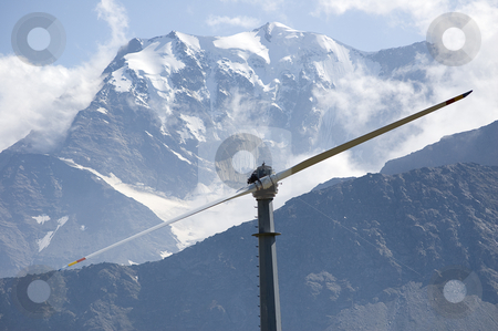Mountain wind turbine stock photo, An high mountain wind turbine to supply energy to a remote area by Roberto Marinello