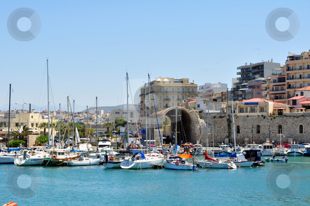 Marina: Port of Heraklion, Crete, Greece stock photo, Travel photography: Port in the Mediterranean Sea. Heraklion, Crete. by Fernando Barozza