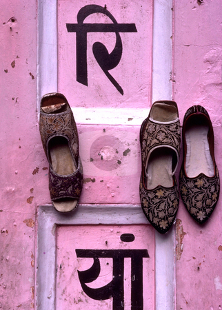 Rajastani Shoes stock photo, India, Rajahstan, Jaipur, Rajahstani Shoes on the floor of a balcony by David Ryan