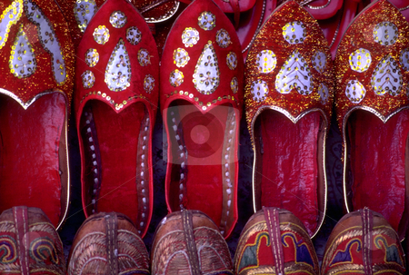 Rajastani Shoes stock photo, India, Rajahstan, Jaipur, Rajahstani Shoes by David Ryan