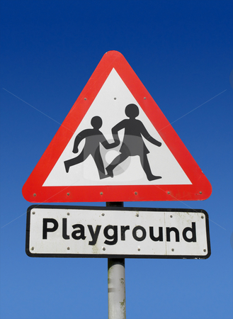 Red playground road sign. stock photo, Red playground road sign. by Stephen Rees