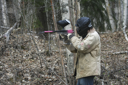 Paint Ball Game stock photo, Paint Ball game in the forest by Sharron Schiefelbein