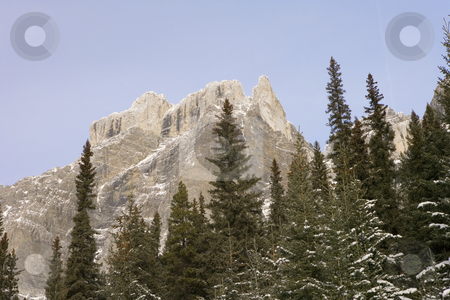 398 Rocky Mountains in Jasper National Park stock photo, Rugged mountains with a touch of snow by Sharron Schiefelbein