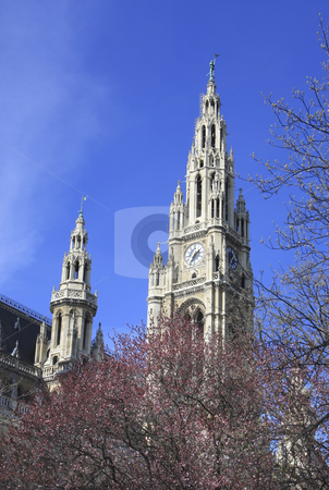 360 Viennas city hall Neues Rathaus stock photo, Neo Gothic town hall with its spires houses Vienna's city council by Sharron Schiefelbein