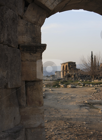 380 The Roman ruins of Hierapolis  are found at Pamukkale Turkey stock photo, The Roman ruins of Hierapolis  are found at Pamukkale Turkey by Sharron Schiefelbein