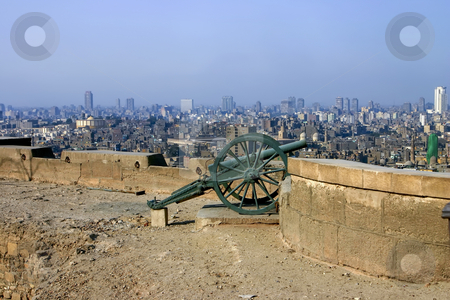 258 Cannon in Citadel in Cairo Egypt stock photo, Cannon on the wall of the Citadel in Cairo Egypt by Sharron Schiefelbein