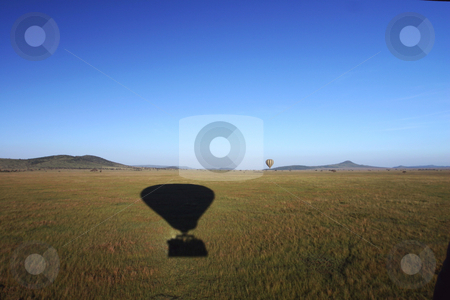 Hot Air Balloon over the Serengeti stock photo, At dawn the Hot Air Balloons drifted over the Serengeti Africa by Sharron Schiefelbein