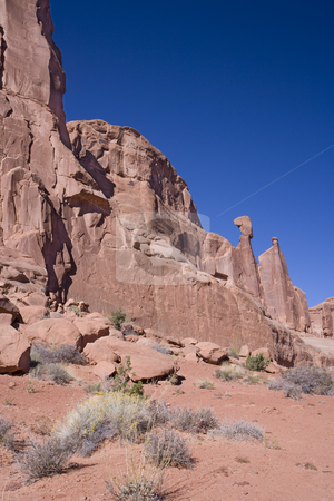 382 Rock formation in Arches National Park stock photo, A  beautiful pink rock formation against a blue sky in Arches National Park Utah by Sharron Schiefelbein