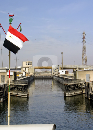 201 Lock system on the Nile River stock photo, Lock system on the Nile River in Egypt by Sharron Schiefelbein