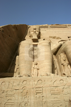 Statue of Ramses II at Abu Simbel stock photo, Colossai statues at the Temple of Ramses II in Egypt by Sharron Schiefelbein