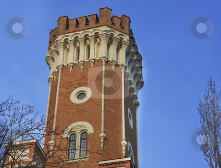 Castle in Vienna stock photo, Against the blue sky is a tower of a Castle by Sharron Schiefelbein