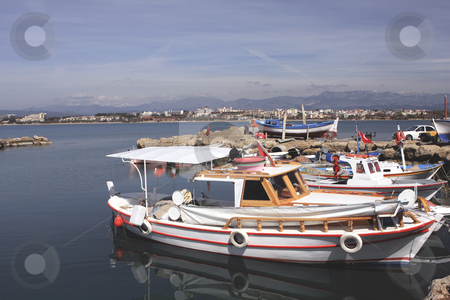 350 Boats in Side Bay stock photo, Boats in a bay on the Mediterranean Sea by Sharron Schiefelbein