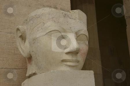 Carving of Queen Hatshepsut stock photo, Head carving of the Queen of Hatshepsut by Sharron Schiefelbein