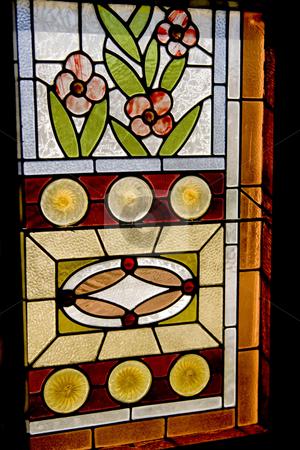 Stain glass window stock photo, Beautiful flower stain glass window by Sharron Schiefelbein