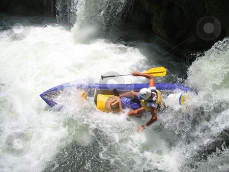 Bottom of the waterfall on the Moho River in Belize stock photo, Kayaking the Moho River in Belize by Sharron Schiefelbein