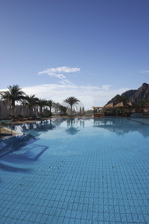 Resort pool in Dahab Egypt stock photo, Beautiful Resort swimming pool by Sharron Schiefelbein
