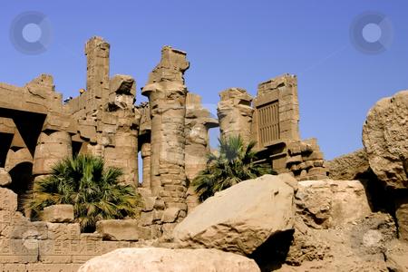 210 Pillars in the Temple of Karnak stock photo, Stone pillars against the blue sky in the Temple of Karnak Luxor Egypt by Sharron Schiefelbein