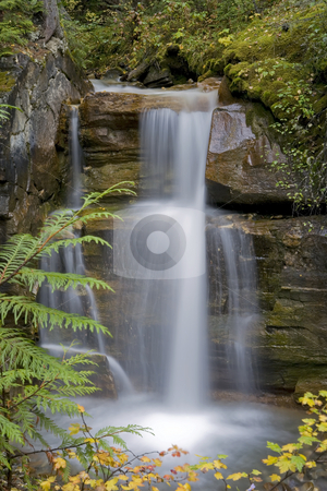 96 Waterfall stock photo, Waterfall cascading a 15 foot rock face by Sharron Schiefelbein