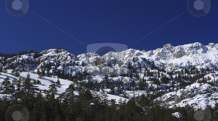 Snow covered mountains in Capadocia Turkey stock photo, Treed and snow covered mountains in central Turkey by Sharron Schiefelbein
