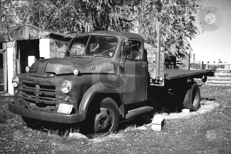 Old truck in Black and White stock photo, Black and White of an old pickup truck by Sharron Schiefelbein