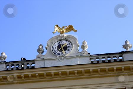 Clock in Schonbrunn Vienna stock photo, The clock on top of the Schonbrunn Palace by Sharron Schiefelbein
