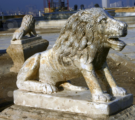 257 Citadel lion statue stock photo, A statue on a lion in the Citadel in Cairo Egypt by Sharron Schiefelbein