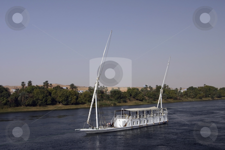 Boat on the Nile stock photo, Boat going to Luxor on the Nile River in Egypt by Sharron Schiefelbein