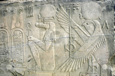 187 Wall of relief in Egypt stock photo, Hieroglyphics in Egypt by Sharron Schiefelbein