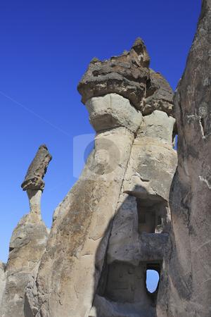 Fairy Chimney on Capadocia Turkey stock photo, Rock Formations of Capadocia though erosion and weather make the rock look like Fairy Chimneys by Sharron Schiefelbein