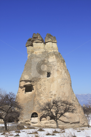 Fairy Chimney on Capadocia Turkey stock photo, Rock Formations of Capadocia though erosion and weather make the rock look like Fairy Chimneys by Sharron Schiefelbein