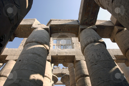 179 Great pillars in Karnak  stock photo, Great Hypostyle Hall in Karnak Temple Luxor Egypt by Sharron Schiefelbein