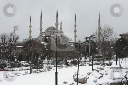 Snow covering the Blue Mosque in Istanbul Turkey stock photo, Over look of Alanya bay and city by Sharron Schiefelbein