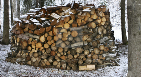 Round pile of firewood stock photo, Winter supplies of firewood stacked in a unique way by Sharron Schiefelbein