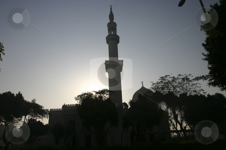 Minaret at sunset in Egypt stock photo, A beautiful Minaret at sunset in Egypt by Sharron Schiefelbein