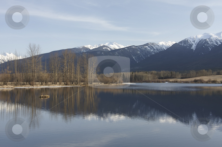 Lake with mountain reflection stock photo, Reflection of snow capped mountains in a quiet lake in BC Canada by Sharron Schiefelbein