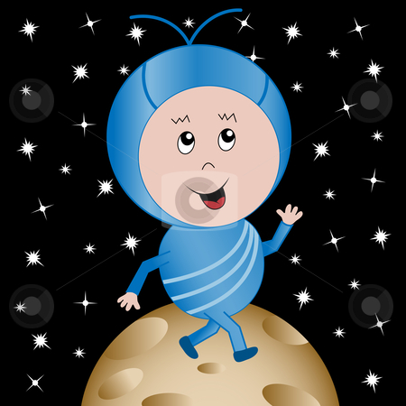Happy Alien in Outer Space Cartoon Character stock vector clipart, Cute happy alien child cartoon character walking on a planet with an outer space background by toots77