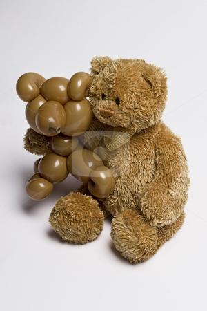 Two bear friend stock photo, A teddy bear and a balloon bear holding each other like good friend by Yann Poirier