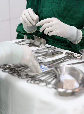 Sugical instruments stock photo, Prepared surgical instruments for operation by Claro Alindogan