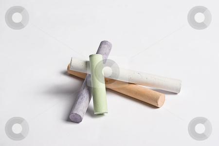 Stack of chalk stock photo, Randomly place pile of chalk by Yann Poirier