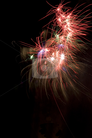 Firework stock photo, Erratic firework display trailing in the wind by Yann Poirier