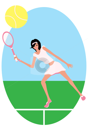 Female Tennis Player stock vector clipart, Vector illustration of a female tennis player. Eps file is compatible with older version of illustrator. by Tugce Andic