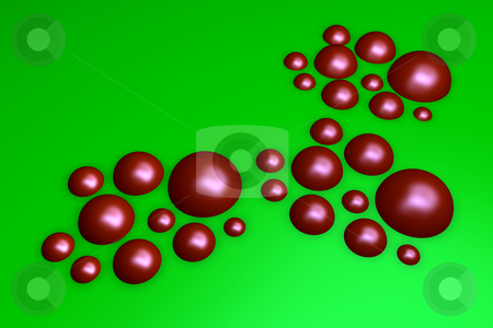 Red bubbles stock photo, Red balls on green background - 3d illustration by J?
