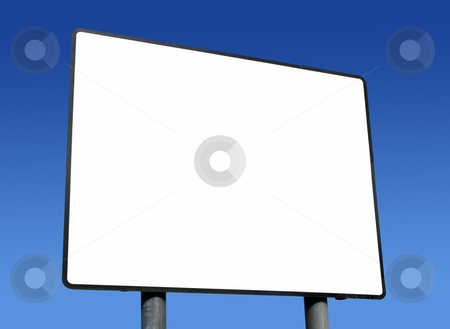Big blank white sign ready for text and blue sky. stock photo, Big blank white sign ready for text and blue sky. by Stephen Rees