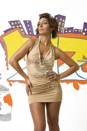 Hip hop fashion model stock photo, Hip Hop fashion model posing in front of graffiti by Yann Poirier
