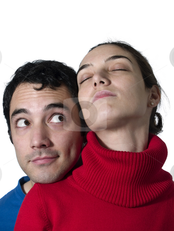 Dreaming stock photo, A young woman dreaming while her boyfriend look at her. by Ignacio Gonzalez Prado