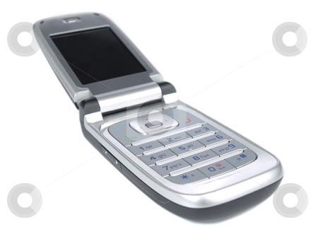 Cell phone stock photo, A cell phone with black screen isolated on white. by Ignacio Gonzalez Prado